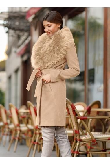 Palton ChicDiva cambrat din stofa cu guler blana ecologica Vivienne Bej