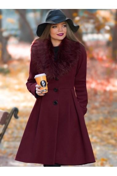 Palton ChicDiva lung evazat cu guler din blana ecologica din stofa Natalie Bordo