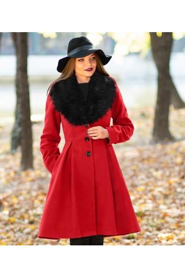 Palton ChicDiva lung evazat cu guler din blana ecologica din stofa Natalie Rosu