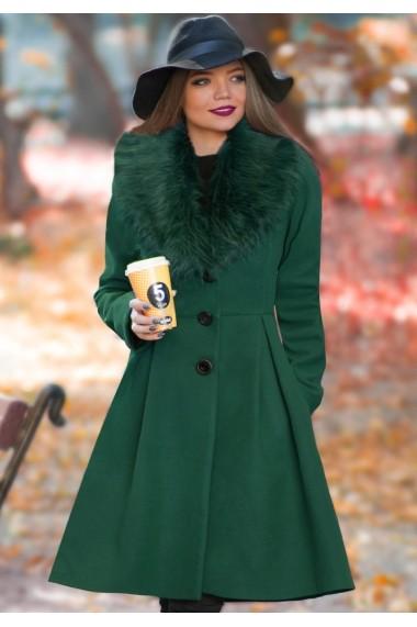 Palton ChicDiva lung evazat cu guler din blana ecologica din stofa Natalie Verde
