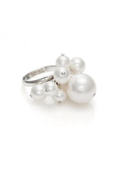 Inel cu perle Swarovski Carla Brillanti Dew Drops White Pearl