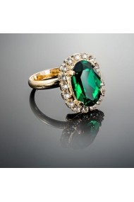 Inel cu cristale Swarovski Carla Brillanti Vivian Emerald Golden