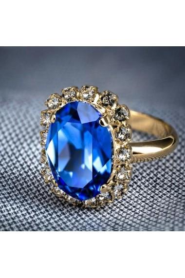 Inel cu cristale Swarovski Carla Brillanti Vivian Saphire Golden