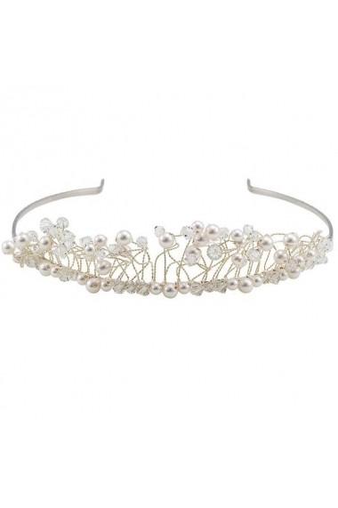 Diadema mireasa cu perle si cristale Swarovski Carla Brillanti 8143 Crystal &Pearl