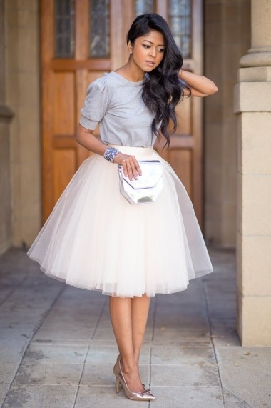 Fusta tulle XMADE ivory 60 cm lungime