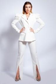 Pantaloni drepti drepti Monarh Design MN-09 Albi