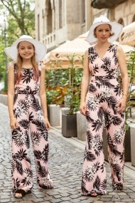 Set salopete mama-fiica FamilyFashion Romance Roz cu palmieri