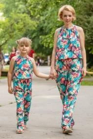 Set salopete mama-fiica FamilyFashion Summer Turcoaz