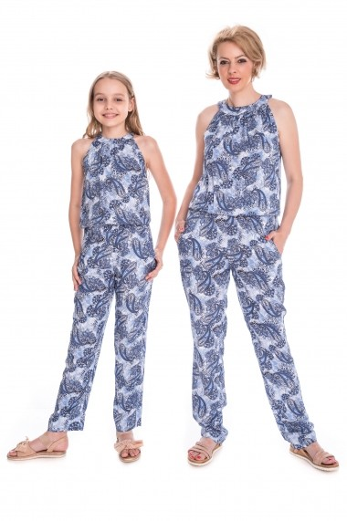 Set salopete mama-fiica FamilyFashion Summer Albastru