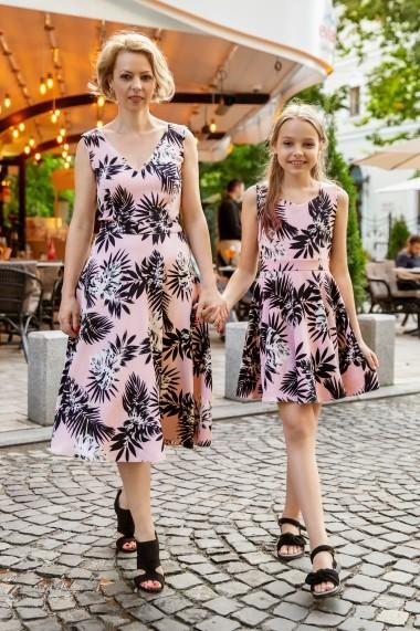 Rochie fetita FamilyFashion Romance Roz cu palmieri