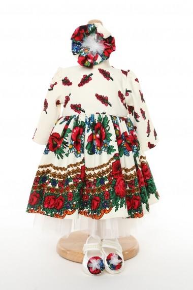 Rochie botez fetita FamilyFashion Traditional Eleganta Imprimeu Traditional