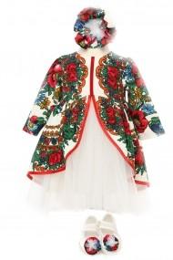 Rochie botez fetita FamilyFashion Traditional Stilizata Imprimeu Traditional