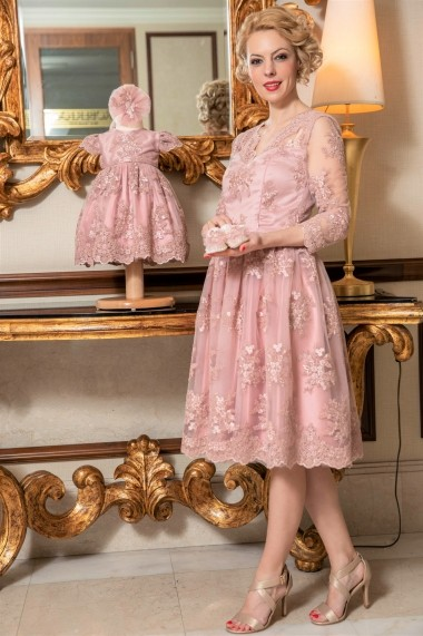 Set rochie botez mama-fiica FamilyFashion Aimee Roz