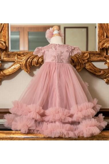 Set rochie botez mama-fiica FamilyFashion Aisha Roz prafuit