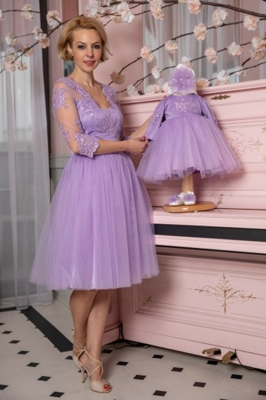 Set rochie botez mama-fiica FamilyFashion Eva Lila