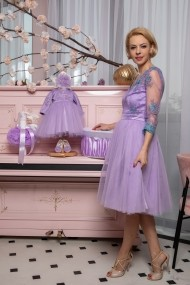 Set rochie botez mama-fiica FamilyFashion Eva Lila Turcois