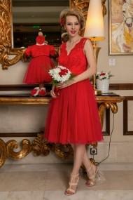 Set rochie botez mama-fiica FamilyFashion Eva Rosu