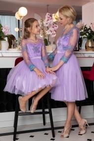 Set rochie mama-fiica FamilyFashion Eva Lila-Turcoaz