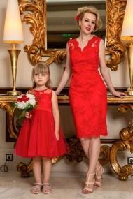 Set rochie mama-fiica FamilyFashion Eve&Eva Rosu