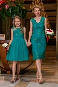 Set rochie mama-fiica FamilyFashion Eve&Eva Turcoaz