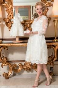 Set rochie botez mama-fiica FamilyFashion Aimee Alb