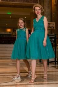 Set rochie mama-fiica FamilyFashion Eva Turcoaz