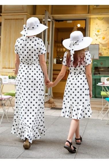 Set rochii mama-fiica FamilyFashion Mara Alb cu buline negre
