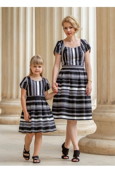 Set rochii mama-fiica FamilyFashion Clasic Negru cu dungi albe