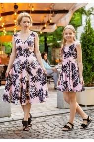 Set rochii mama-fiica FamilyFashion Romance Roz cu frunze negre