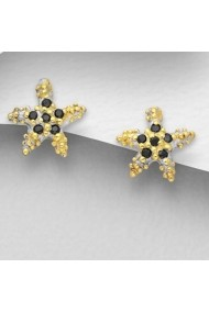 Cercei Fine Jewelry decorati cu diamante simulate din zirconiu placati cu aur 22K si rodiu.