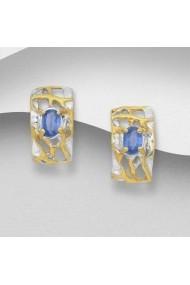 Cercei Fine Jewelry din argint veritabil 925 cu kianit albastru suflati cu aur 22k si rodiu