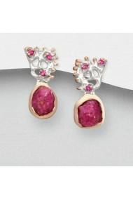 Cercei Fine Jewelry din argint veritabil 925 cu safire roz si rubin placati cu aur 22K si rodiu alb