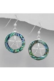 Cercei Fine Jewelry din argint veritabil 925 cu stelute si decoratii cu sidef