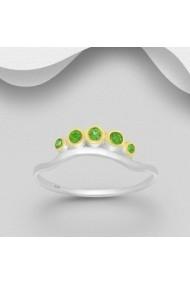 Inel Fine Jewelry din argint veritabil 925 cu diopsid cu granat verde suflat cu aur 22k si rodiu