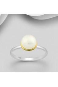 Inel Fine Jewelry din argint veritabil 925 cu perla naturala placat cu aur 22K si rodiu.
