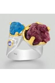 Inel Fine Jewelry din argint veritabil 925 cu rubin apatit albastru si tanzanit placat cu aur 22K si rodiu alb