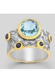 Inel Fine Jewelry din argint veritabil 925 cu safir albastru si topaz placat cu aur 22K si ruteniu