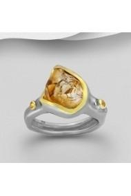 Inel Fine Jewelry din argint veritabil 925 cu safire galbene si citrin suflati cu aur 22k si ruteniu