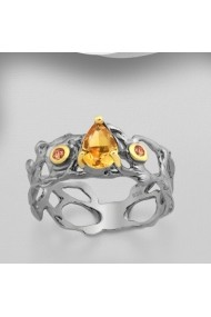Inel Fine Jewelry din argint veritabil 925 cu safire oranj si citrin plact cu aur 22K si ruteniu.
