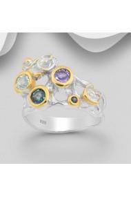 Inel Fine Jewelry din argint veritabil 925 cu safire topaz si tanzanit placat cu aur 22K si rodiu.