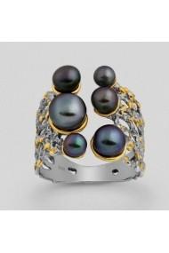 Inel Fine Jewelry din argint veritabil 925 si perle naturale placat cu aur 22k si ruteriu