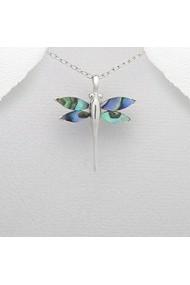 Pandantiv Fine Jewelry cu libelula din argint veritabil 925 cu rasina si sidef