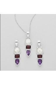 Pandantiv Fine Jewelry din argint veritabil 925 cu perla naturala granat si ametist