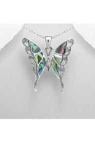 Pandantiv Fine Jewelry fluture din argint veritabil 925 si sidef