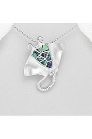Pandantiv Fine Jewelry Pisica-de-Mare din argint veritabil 925 si sidef
