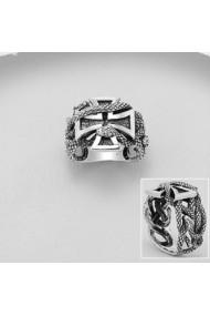 Inel Fine Jewelry din argint veritabil 925 cu cruce celtica si sarpe
