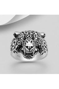 Inel Fine Jewelry masiv din argint veritabil 925 cu cap de leopard