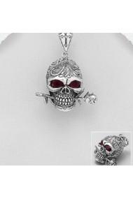 Pandantiv Fine Jewelry din argint veritabil 925 cu cap de morttrandafir si zirconiu