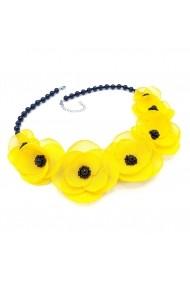 Colier cu flori Zia Fashion Yellow Candy galben