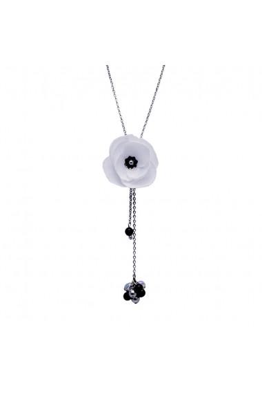 Colier lung Zia Fashion Angeline floare alba